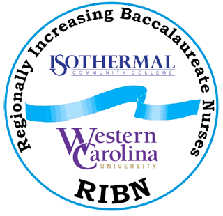 Circular RIBN Logo, Regionally Increasing Baccalaureate Nurses Isothermal and Western Carolina University