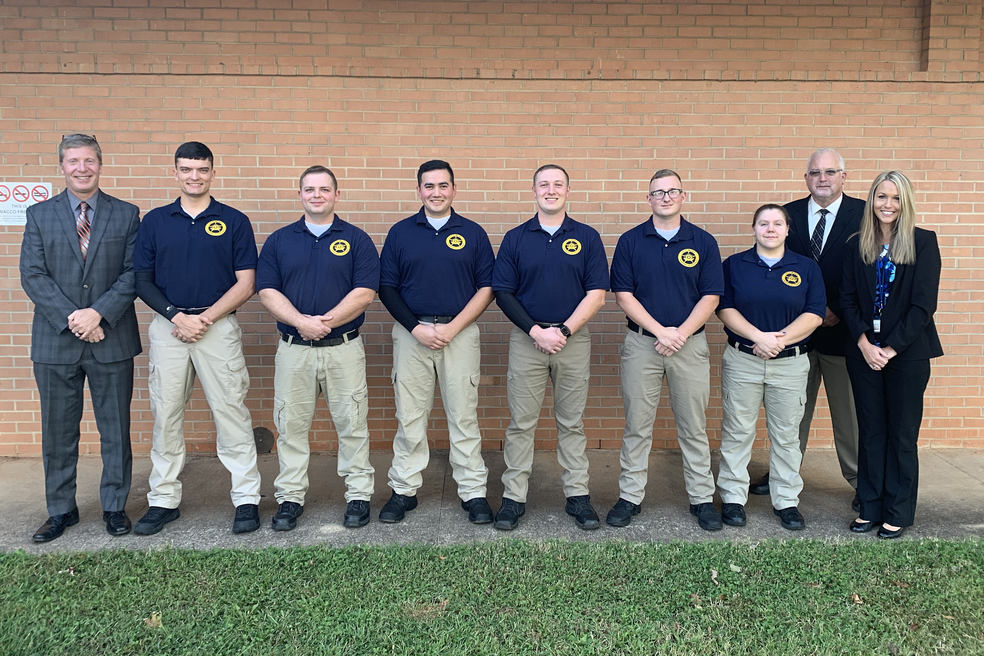 The 81st BLET class graduated earlier this week. Pictured are instructor Thomas Tarker (left to right), Austin G. Coggins, Josh C. Tuffill, Robert M. Hoyle, Justin L. Haney, Ethan J. Killeen, Kelly M. Schuh, BLET Director Philip Bailey, and Ava Yamouti, dean of Health and Public Services. Daniel W. Edwards is not pictured.