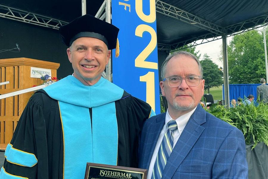 Dr. Thad Harrill with award winner Robin Lattimore