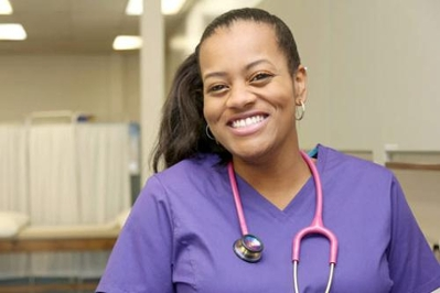 Stock image of nurse wearing scrubs  with stethoscope